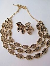 vintage SARAH COVENTRY DESERT FLOWERS set necklace clip earring FREE SHIP sign