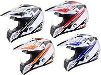 DUAL SPORT Motocross Adventure Crash HELMET with VISOR Road Legal Enduro