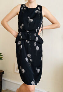 Hobbs London Pencil Occasion Dress UK 14 Black Stone Dandelion Floral Sleevele