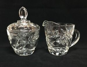 Vintage Anchor Hocking Glass STAR OF DAVID CREAMER & LIDDED SUGAR BOWL Clear EUC