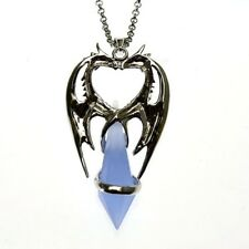 Double Dragon Heart Crystal Keeper Pendant Necklace Anne Stokes Silver Plated