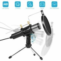 USB Microphone Mic Condenser Recording Studio Tripod Stand For PC Phone Laptop