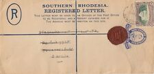 SOUTHERN RHODESIA:1948 GVI 4d  regis. envelope  H &GC8 used Fort Victoria-S.A.