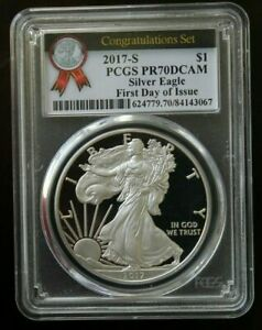 2017-S PROOF SILVER EAGLE - PCGS PR70DCAM FIRST DAY ISSUE - CONGRATULATIONS SET