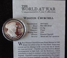 1994 moneda de plata prueba de Francia 100 francos + certificado De Autenticidad World at War Winston Churchill