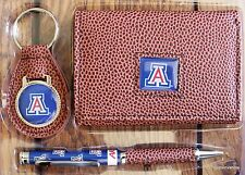 University of Arizona Football NCCA Brown Tri-Fold Wallet keyring Pen Gift Set