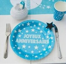 10 Assiettes Carton Jetables TURQUOISE Joyeux Anniversaire décoration table Fête