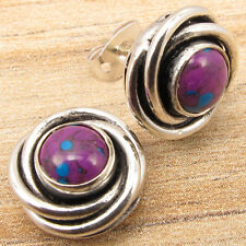 925 Silver Plated Studs Earrings, PURPLE COPPER TURQUOISE Gemstone DECO