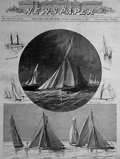 America's Cup SANDY HOOK Atlantic Mayflower Priscilla Puritan1886 Print Matted