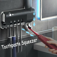 Toothbrush Holder Wall Mount Toothpaste Automatic Dispenser Black/White UK