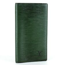 Auth Louis Vuitton Green Epi Leather Book Diary Cover Long Wallet Bill Case Used