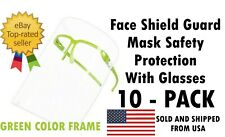 10 PACK Face Shield Guard Mask Safety Protection With Glasses - GREEN COLOR