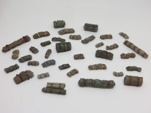 20mm 1/72 1/76 Vehicle stowage - Tarps and bedrolls - bulk pack of 35 pieces