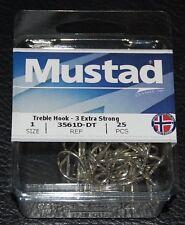 25 Pack Mustad 3561D-DT Size 1 Duratin Saltwater 3X Treble Hooks 3561D-01