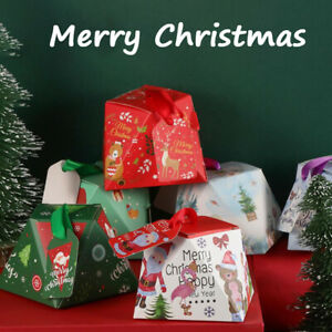 5Pcs Christmas Gift Packing Bag Candy Biscuits Box Santa Claus Elk DecoratiYXAU