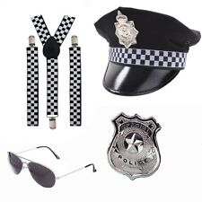 POLICE FANCY DRESS BRACES HAT BADGE AVIATORS STAG NIGHT COP HEN PARTY UNISEX