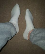 Mens White Trainer Sports Scally Chav Socks Size 10 Gay Interest Customisable