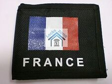 FABRIC BLACK UNISEX WALLET WITH FRANCE FLAG AND PLENTY OF COMPARTMENTS