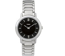 Timex Women's Watch Elegant (Stainless Steel Wrist Chrome Face Black) t2m543