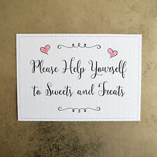 Please Help Yourself to Sweets & Treats Wedding Sign - 260gsm Hammer Card