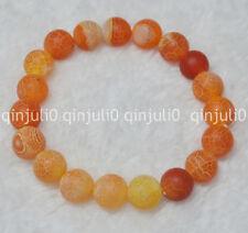 "10mm Orange Dream Fire Dragon Veins Agate Round Beads Bracelets 7.5"" J143"