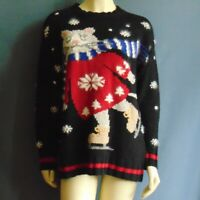 Northern Isles Black Ice Skate Cat Winter Silk Blend Hand Embroidered Sweater M