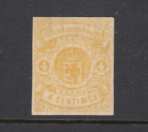 Luxembourg Sc 6 MLH. 1860 4c yellow Coat of Arms, four margins, corner thin spec