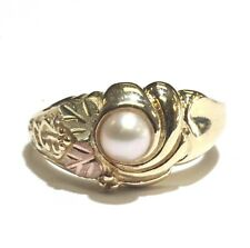 10k yellow rose gold womens 4mm pearl ring 3.9g estate vintage antique ladies