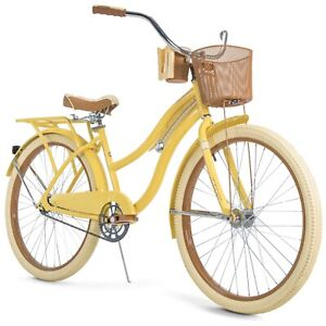 """Huffy, Nel Lusso 26"""" Classic Cruiser Bike with Perfect Fit Frame, Women's Yellow"""