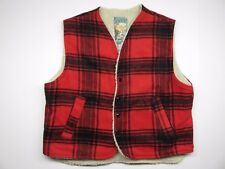 Canyon Guide Outfitter Red Plaid Vest with Outerwear Cream Insulation Sz Medium