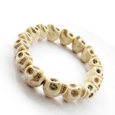 White Howlite Turquoise Skull Tibet Buddhist Prayer Beads Mala Bracelet Jewelry