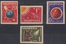 ALBANIA 1962 4 VAL NON DENTELLATI LUNIK SPUTNIK CANE LAIKA YVERT 585-8 SG 708-11