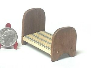 Vintage Artisan Doll's Doll Bed Wooden Dollhouse Miniature 1:12