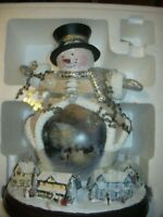 Thomas Kinkade Spreading Holiday Cheer Lighted Rotating Musical Snowman Sculptur