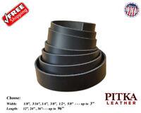 Black Leather Strips Latigo 7-8 oz(2.8-3.2 mm) - Belts, Guitar Straps, Collars..