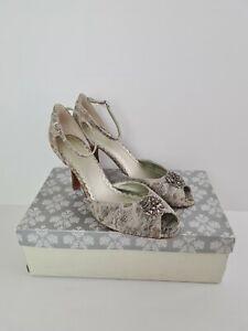 FIORELLI ALLY Natural Lace Diamante Wedding Peep Toe High Heel Women's Size 10