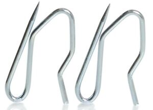 Curtain Hooks Metal Pins 50 Pack Strong Silver French Pin for Pleat Heading Tape