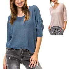 Hachiro Damen Strickpullover mit Fledermausärmel V-Neck Oversize Sweater SALE %