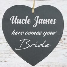 Uncle Here Comes Your Bride Large Slate Heart Personalised Plaque  SLA210-17