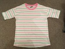 Asos size 4 pink white and green striped t shirt