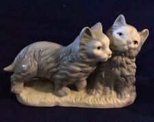 "Vintage Loving Cats Grey Figurine Ceramic Cute 4"" Tall, 7"" Long"