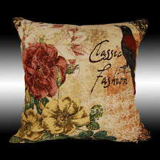 CLASSIC FRENCH COLORUL BIRD FLOWERS TAPESTRY THROW PILLOW CASE CUSHION COVER 17""