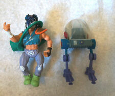 Vintage x2 TMNT LOT Figurine + Krang Brain Holder Figurine 1980s 1990s Kids