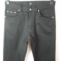 Hugo Boss Mens Jeans Black W33 L34 Pure Cotton Denim Regular Fit Zip Fly
