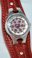 Fossil Big Tic Animated Watch Flashing Red Hearts Burgundy Leather Band ES-9739
