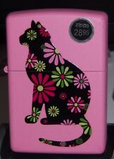 ZIPPO FLAT MATTE PINK CAT WITH PETALS