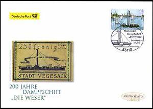 """Frg 2017: Steamboat """" Die Weser """"! post-Fdc Der Self-Adhesive No. 3279! 1811"""