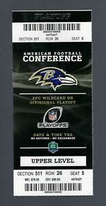 2012-2013 NFL COLTS @ BALTIMORE RAVENS FULL WILD CARD FOOTBALL PLAYOFF TICKET