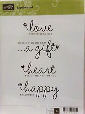 Stampin Up LIGHTHEARTED clear mount stamps NEW Love Happy Gift Heart Sentiments