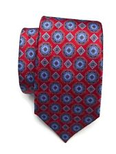 NWT Ermenegildo Zegna Tie Red Blue Medallion Print 100% Silk Made in Italy $195